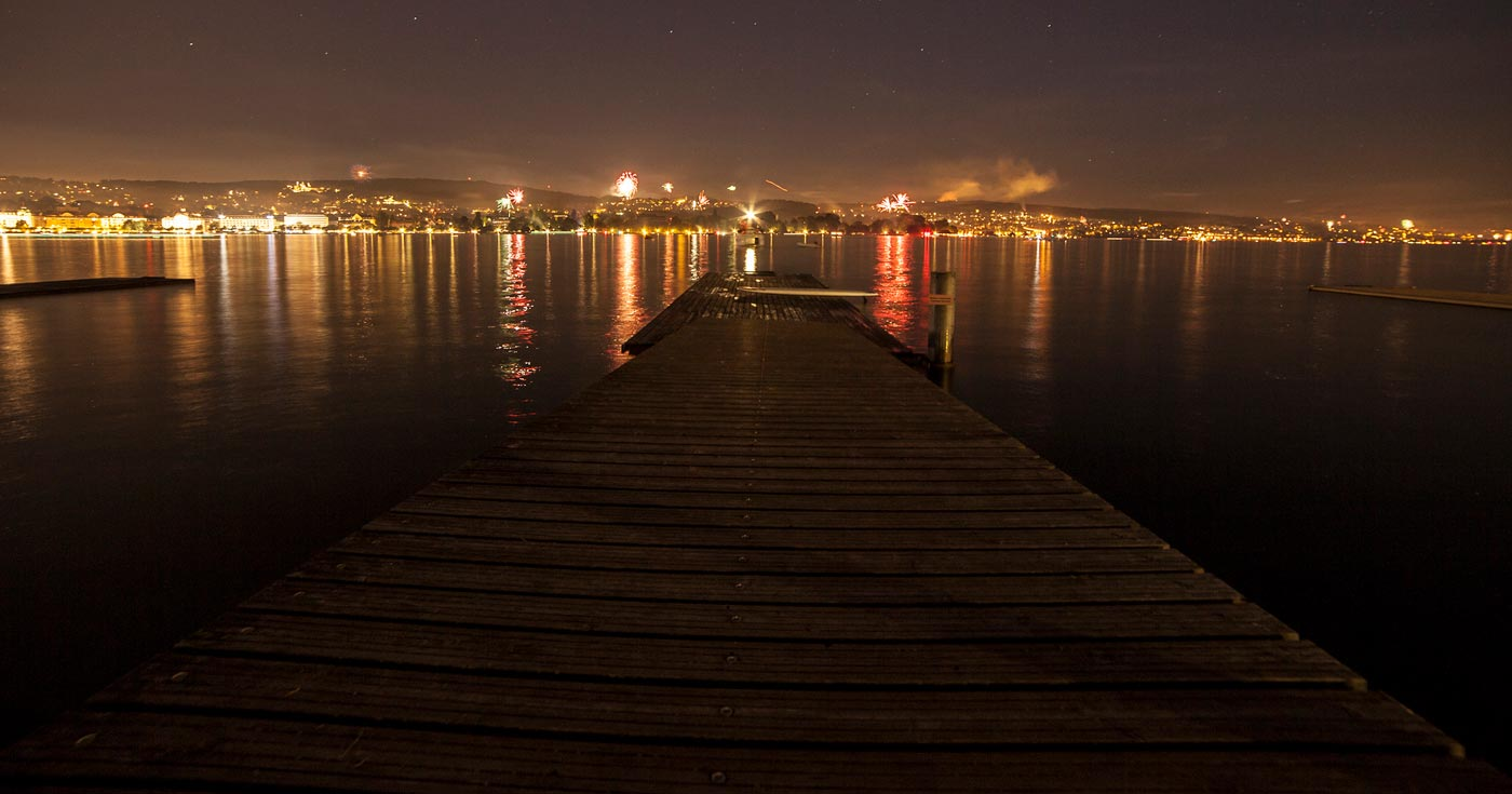 A lonely jetty at night time