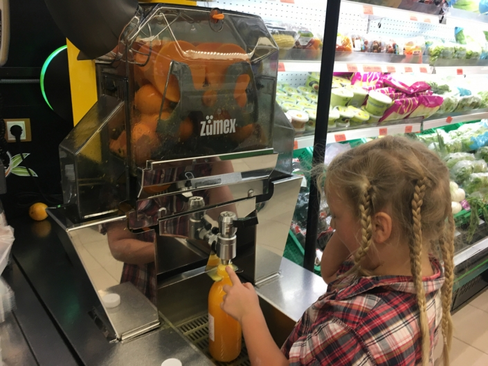 This can be done in Danish supermarkets. But it is not as fun and not as good as fresh orange juice in the south of spain.