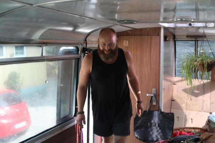 The amazing and hard working, happy Jesper Conrad doing his thing: Converting a bus to a home