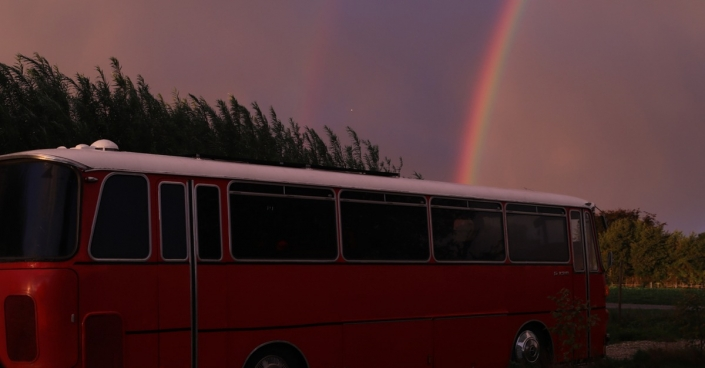 Bus and rainbow