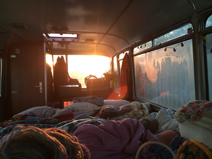 More sunrise, from inside the bus.